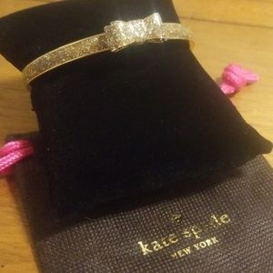 "Kate Spade Gold Glitter Bow ""Moon River"" Bracelet"